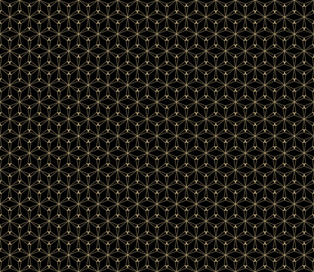 Golden vector seamless pattern. Simple dark geometric triangular texture, black and gold colors. Illustration of delicate grid, lattice, mesh. Subtle abstract background, repeat tiles. Modern design Stock Illustratie