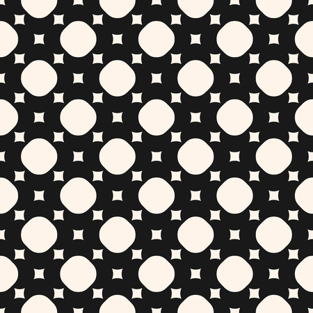 Vector monochrome seamless pattern, simple geometric texture with small squares and circles, perforated surface. Black and white abstract background, repeat tiles. Design for prints, decor, clothing
