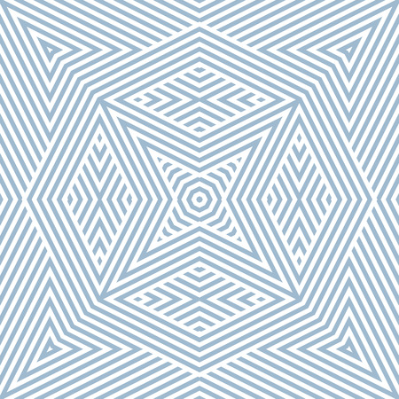 Vector geometric lines pattern. Elegant blue and white seamless ornament. Modern linear background texture with stripes, diagonal lines, triangles, rhombuses, star shapes. Abstract repeat design