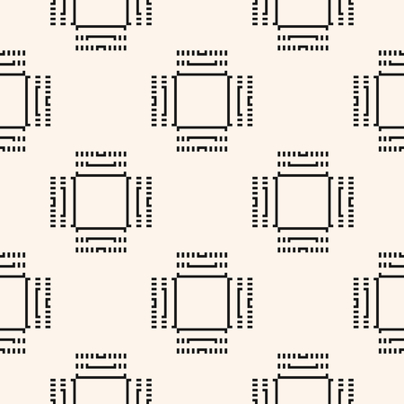 Digital monochrome seamless pattern. Vector background with schematic computer chip, microchip illustration. High technology industrial theme. Abstract minimal geometric texture with squares, lines