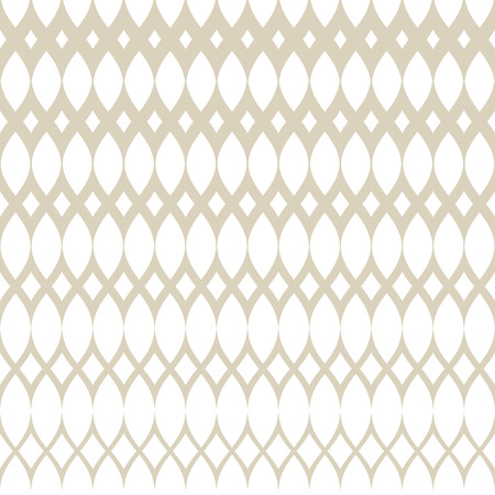 Golden vector halftone grid seamless pattern. Subtle white and gold abstract geometric texture with mesh, grid, lattice, weave, tissue, net. Gradient transition effect. Luxury repeatable background