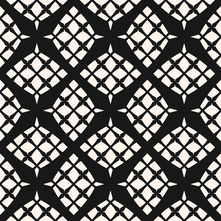 Grid vector seamless pattern. Abstract geometric monochrome texture with diagonal cross lines, net, mesh, lattice, grill, fence. Simple black and white graphic background. Elegant repeating design