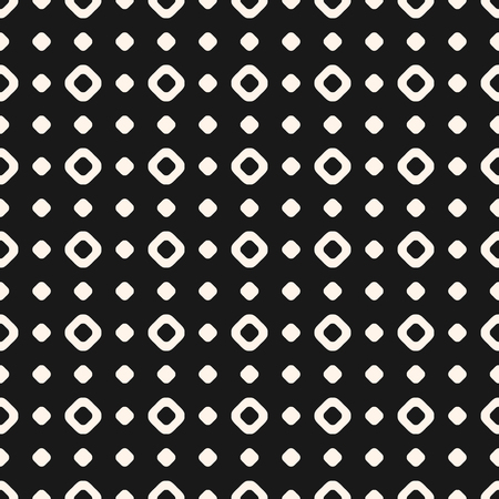 Polka dot vector seamless pattern. Simple vintage texture with small circles and rings. Subtle abstract geometric background. Black & white illustration. Square grid, repeat tiles. Decorative design