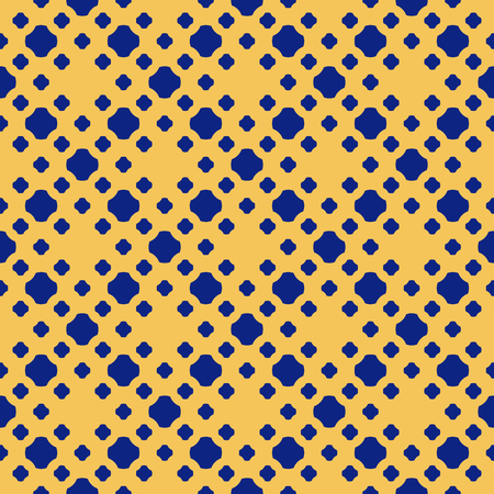 Polka dot seamless pattern. Simple abstract texture with small dots, crosses, floral silhouettes in square grid. Vector geometric background in navy blue and yellow colors. Repeat ornamental design