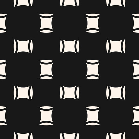 Vector minimalist seamless pattern. Simple monochrome geometric texture with squares, ovate shapes. Abstract minimal black and white background. Stylish modern design for decor, package, print, cloth