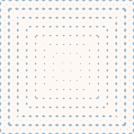 Vector geometric seamless pattern with radial halftone transition effect in square form. Subtle vector background with small rhombuses, diamonds, lines, grid. Pale blue and white colors. Trendy design
