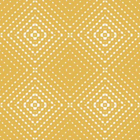 Yellow vector geometric seamless pattern with small rhombuses, diamond shapes, lines, grid. Colorful background with halftone transition effect in square form. Ornamental texture. Repeat design