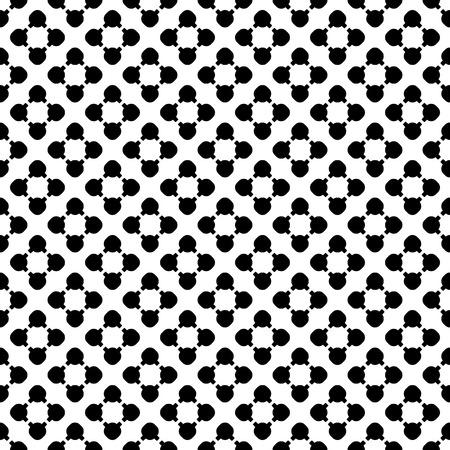 Simple monochrome vector texture, floral geometric seamless pattern. Black flourish figures on white background, circles & lines, diagonal array. Modern abstract design for prints, textile, decor, web