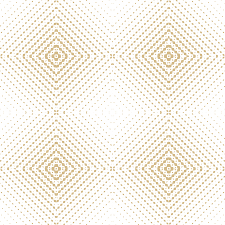 Golden vector halftone seamless pattern. Abstract graphic texture with grid, weave, lattice, squares, net. Radial gradient transition effect. Elegant white and gold geometric background. Luxury design