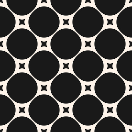 Vector seamless pattern with big circles and small squares. Stylish dark geometric background. Simple abstract monochrome texture. Repeat design element for prints, decor, textile, furniture, ceramic Illustration