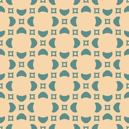 Simple abstract floral texture. Vintage geometric seamless pattern with flower silhouettes, small squares. Vector background in tan and teal colors. Elegant repeat design for decor, wrapping paper