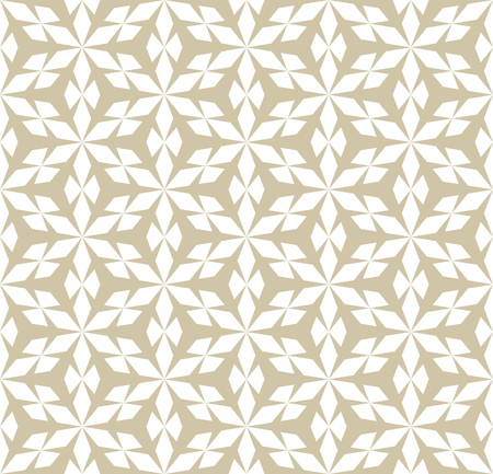Vector golden seamless geometric pattern. White and gold geometrical texture with hexagonal grid, diamond shapes, triangles, mesh, lattice. Simple abstract repeat background. Stylish modern design