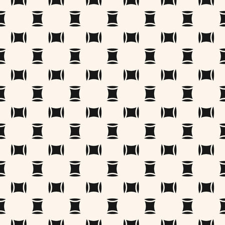 Vector minimal seamless pattern. Simple black and white geometric texture with small squares, ovate shapes. Abstract minimalist monochrome background. Modern design for decor, wallpapers, prints, wrap