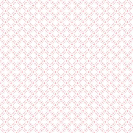 Subtile abstrakte geometrische nahtlose Muster. Nettes rosa und weißes Vektorhintergrunddesign. Einfache grafische Ornamentstruktur mit winzigen Rauten, Rauten, Gitter, Netz, kleinen Elementen, Wiederholungsfliesen