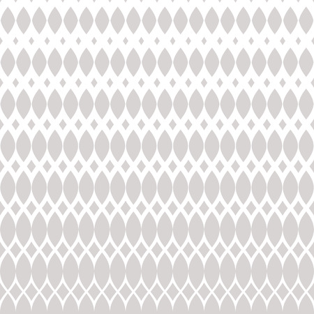 Vector halftone mesh pattern. Subtle white and light gray abstract geometric texture with lace, weave, tissue, lattice, net. Vertical gradient transition effect, horizontally seamless background