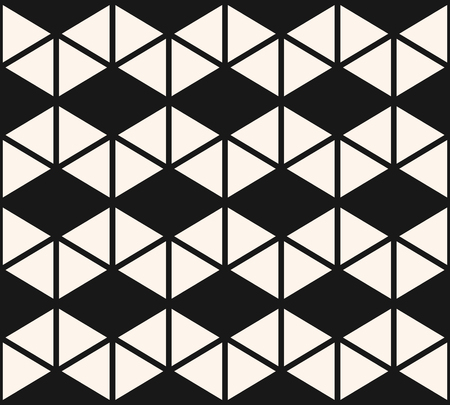 Geometric triangles seamless pattern. Vector black and white abstract texture with triangular shapes, grid, net, rhombuses. Simple monochrome graphic background. Stylish modern repeatable design