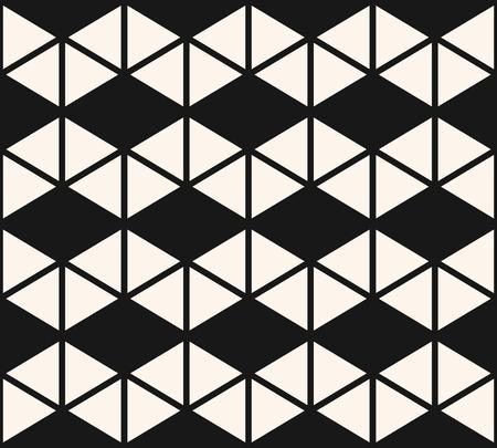 Geometrische driehoeken naadloze patroon. Vector zwart-wit abstracte textuur met driehoekige vormen, raster, net, ruiten. Eenvoudige zwart-wit grafische achtergrond. Stijlvol modern herhaalbaar ontwerp