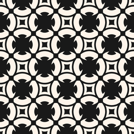 Black and white geometric ornament. Monochrome seamless pattern. Abstract texture with carved floral shapes, rounded grid, mesh, squares. Ornamental repeat background. Design for decor, tiling, fabric
