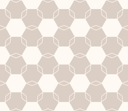 Vector minimale geometrische naadloze bloemmotief. Lichtbruine en beige kleur. Eenvoudige abstracte achtergrondtextuur met zeshoeken, net, net, bloemensilhouetten. Leuk minimalistisch herhalingsontwerp voor decor