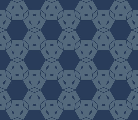 Vector geometric seamless pattern with hexagonal grid, small rhombuses, lines, flower silhouettes, mesh, net. Stylish dark blue colored texture. Abstract repeated background. Minimal design for decor