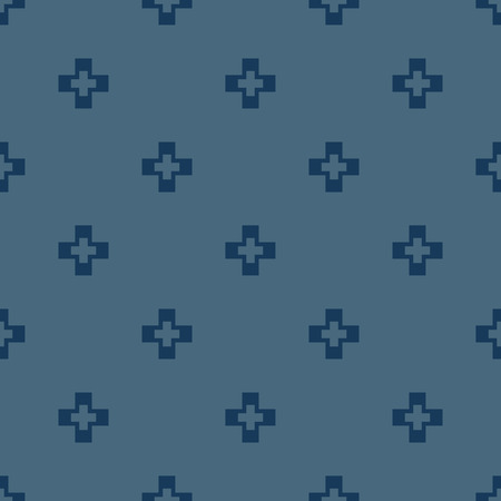 Vector minimalist geometric seamless pattern with simple cross shapes, small elements. Abstract background texture, repeat tiles. Deep blue color. Minimal design for decor, package, cloth, apparel
