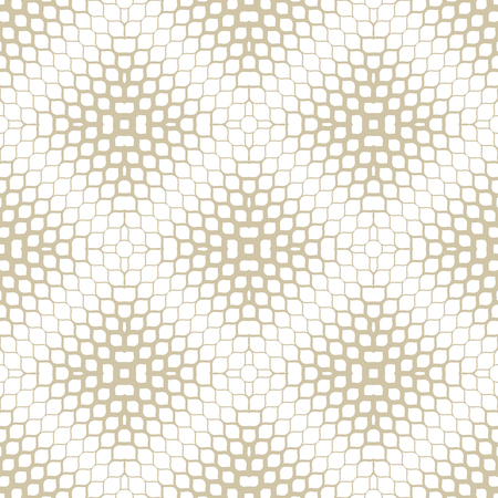 Golden vector halftone texture. Abstract geometric seamless pattern with gradient transition effect, grid, mesh, weave. Gold and white minimal repeat background. Luxury modern design for decor, covers