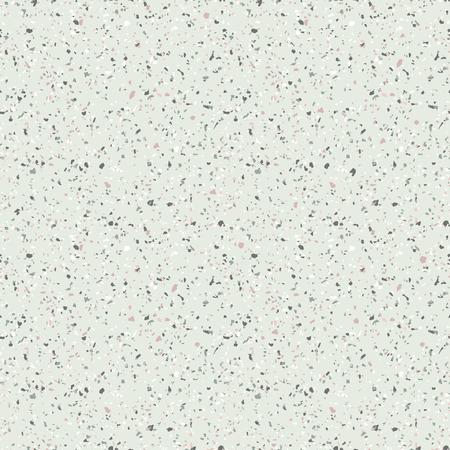 Modèle sans couture de terrazzo. Texture vectorielle du sol en mosaïque avec pierres naturelles, granit, marbre, quartz, calcaire, verre coloré, béton. Revêtement de sol en terazzo. Fond de sable dans des couleurs pastel vertes Vecteurs