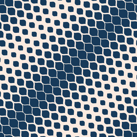 Vector halftone geometric seamless pattern. Deep blue and beige texture with diagonal gradient transition effect, ovate shapes, spots, petals. Abstract repeated background. Illustration of snake skin