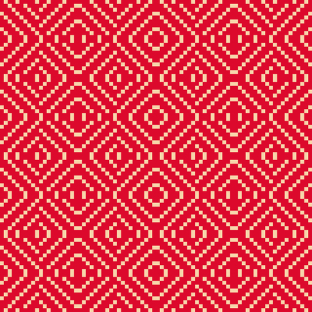 Vector geometric folk ornament.  Traditional Nordic ethnic seamless pattern. Ornamental background with small squares, crosses, lines. Texture of embroidery, knitting. Festive red and beige design