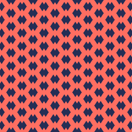 Vector abstract geometric seamless pattern with small rhombus shapes. Simple background in traditional ethnic style. Texture in trendy colors, dark blue and living coral. Repeatable design for decor