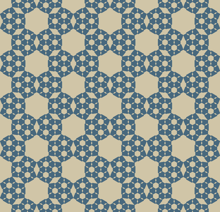Vector geometric hexagons seamless pattern. Luxury blue and gold background. Simple vector texture with abstract floral silhouettes, rhombuses, grid. Elegant repeat design for decor, wallpaper, fabric 向量圖像