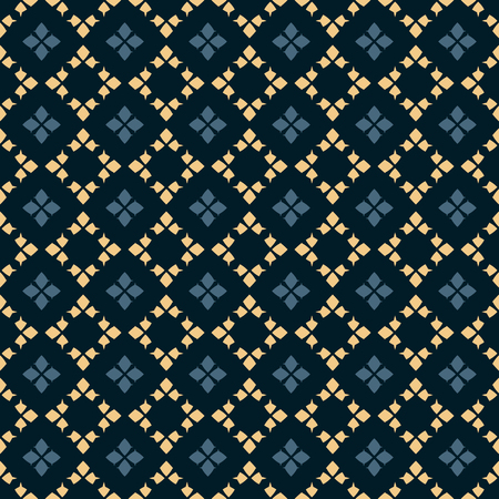 Vector geometric seamless pattern. Traditional folk ornament. Texture with small rhombuses, flower silhouettes, diamonds. National ethnic motif. Deep blue, yellow and black colors. Repeat background Ilustracje wektorowe