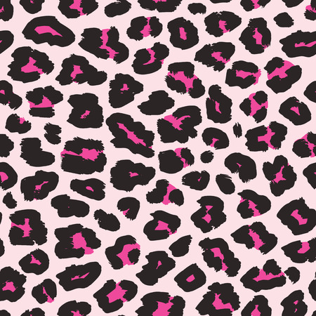 Leopard print. Vector seamless pattern. Fashionable background with black and magenta spots on light pink backdrop. Animal skin texture. Abstract exotic illustration. Repeat design for decor, fabric Çizim