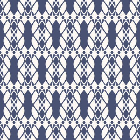 Vector mesh seamless pattern. Elegant abstract geometric ornament in dark blue and white colors. Texture of grid, lace, tissue, knitting. Subtle background. Repeat design for decor, textile, cloth
