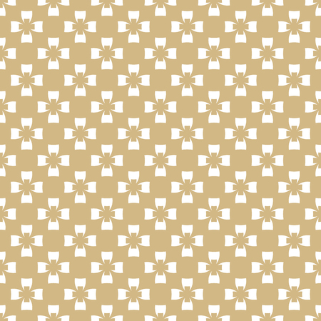 Golden vector seamless pattern. Abstract geometric texture with small floral figures, crosses, repeat tiles. Elegant ornamental white and gold background. Luxury design for decor, prints, wallpapers