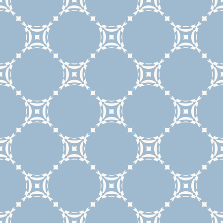 Subtle vector geometric seamless pattern with circular grid. Elegant soft blue texture. Simple abstract background, repeat tiles. Design for decoration, fabric, linens, textile, carpet, wallpaper