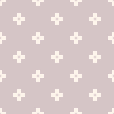 Vector minimalist geometric seamless pattern with simple cross shapes, small elements. Abstract background texture, repeat tiles. Soft pastel colors, lilac and beige. Minimal design for decor, package