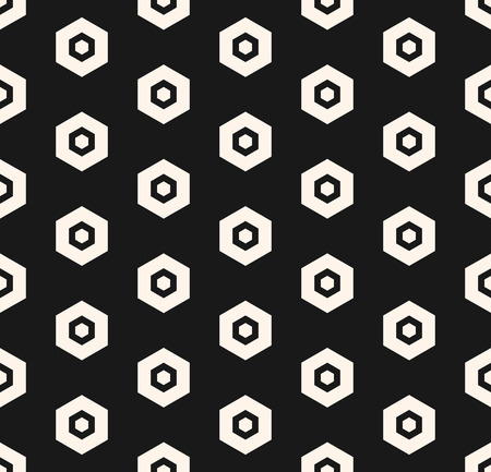 Vector hexagon pattern. Abstract geometric minimalist hexagonal seamless texture with perforated hex shapes. Black and white monochrome background. Dark design for decor, textile, covers, digital, web