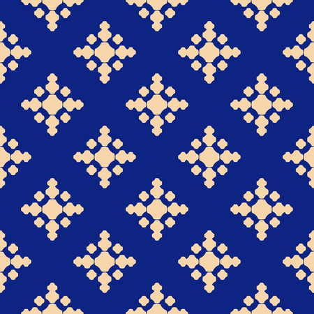 Simple golden floral texture. Geometric seamless pattern with small flowers, crosses, dots. Vector abstract repeatable background in deep blue and gold colors. Vintage design for textile, cloth, cover