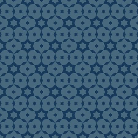 Vector minimalistische geometrische naadloze patroon. Eenvoudige diepblauwe textuur met kleine sterren, bloemenvormen, net, net, rooster. Abstracte minimale achtergrond. Subtiel herhaalbaar ontwerp voor decor, covers