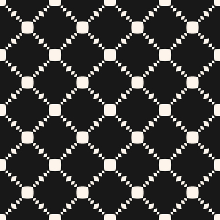 Vector geometric seamless pattern with small squares, rhombus shapes, grid, lattice, net, repeat tiles. Simple black and white minimalist background. Abstract monochrome texture. Stylish dark design