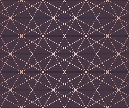Rose gold pattern. Vector geometric seamless texture with delicate grid, lattice, net, hexagons, triangles, rhombuses. Abstract golden and purple graphic background. Premium design for decor, covers Vektorgrafik