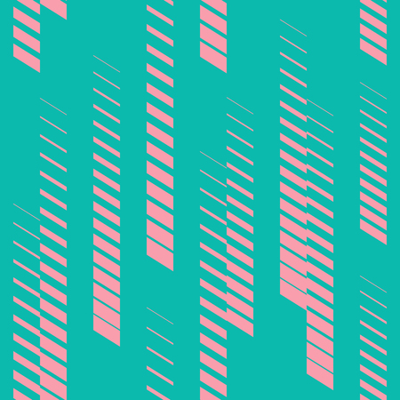 Abstract geometric seamless pattern with vertical fading lines, tracks, halftone stripes. Trendy vector background in bright neon colors, turquoise and pink. Sport style texture. Digital urban art Stock Illustratie