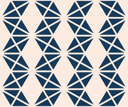 Triangles seamless pattern. Vector abstract geometric texture in deep blue and beige color. Simple graphic background with triangles, rhombuses, grid, zigzag stripes. Repeat design for decor, prints Vettoriali