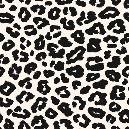 Leopard print pattern. Black and white vector seamless background. Animal skin texture of jaguar, leopard, cheetah, panther, leopard. Monochrome repeat design for textile, fabric, prints, wallpapers
