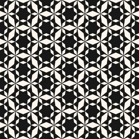 Vector minimalist geometric seamless pattern. Simple black and white texture with grid, net, mesh, lathing, stars, diamond shapes. Abstract monochrome background. Repeatable design for decor, prints