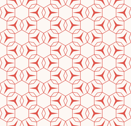 Vector geometric seamless pattern with thin lines, grid, triangles, small flower silhouettes, hexagonal lattice, mesh, net. Elegant red and white texture. Abstract background. Repeat decorative design