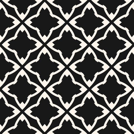 Vector geometric seamless pattern in oriental style. Black and white ornamental texture. Dark abstract monochrome background with diamond shapes, stars, flower silhouettes, grid, net, repeat tiles