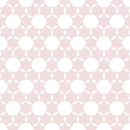 Subtle geometric seamless pattern. Cute vector minimalist texture with delicate grid, floral shapes, stars. Abstract background in soft pastel colors, light pink and white. Simple repeatable design  Stock Illustratie