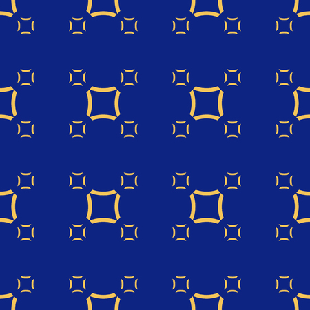 Vector minimalist seamless pattern. Simple geometric texture with small smooth outline squares. Abstract repeat background in blue and yellow colors. Colorful modern design for decor, digital, web